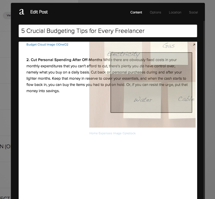 Click and drag a content block to make columns