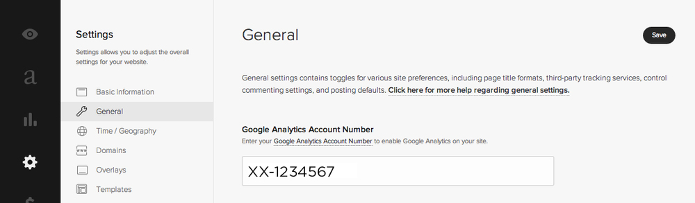 Paste your Google Analytics tracking code into Squarespace settings