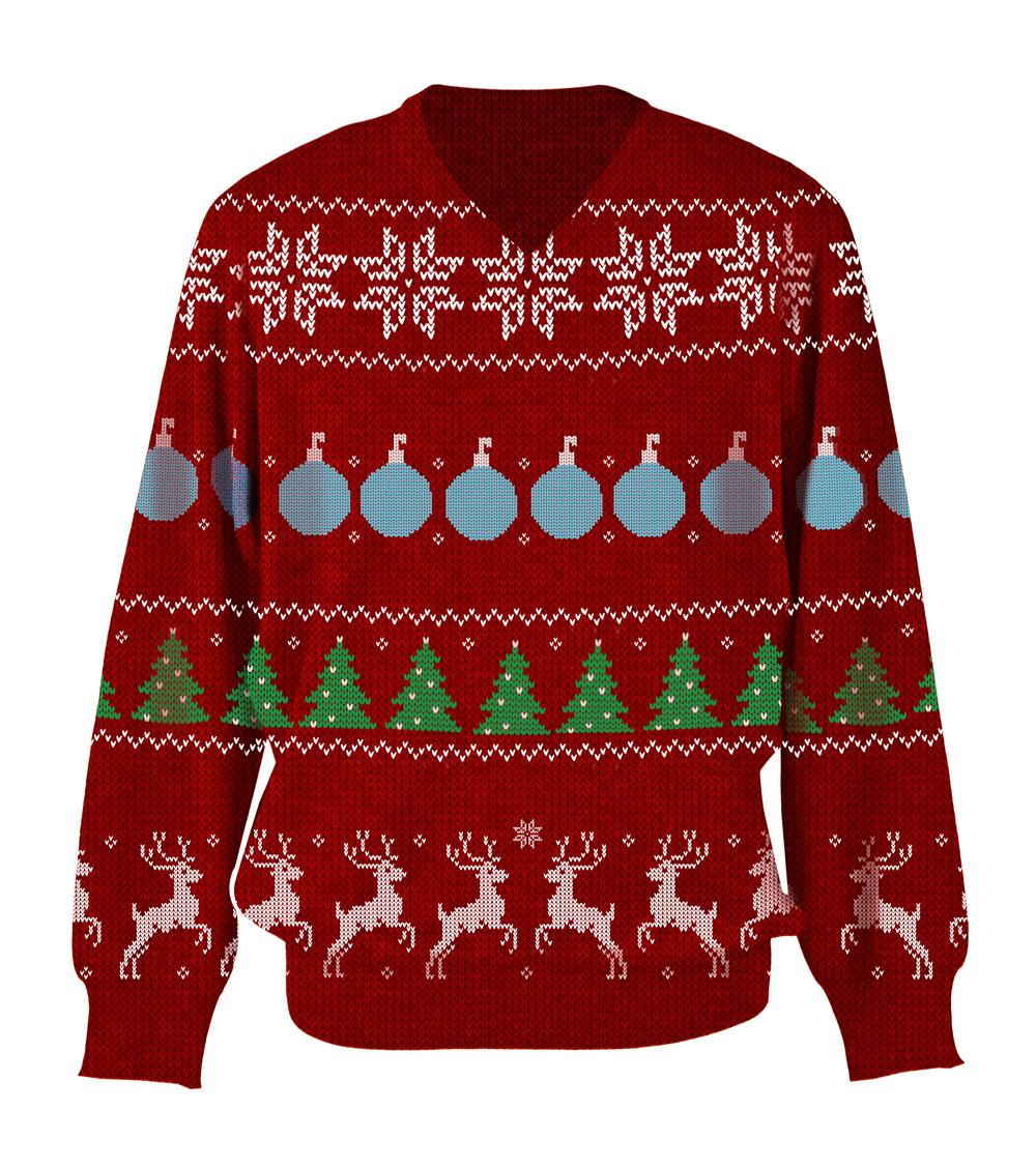 Christmas sweater built using Bigstock images.