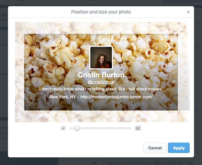 Crop and zoom of header image on Twitter