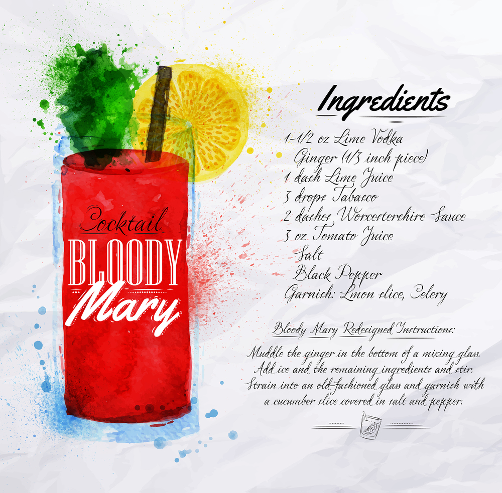 Bloody Mary recipe illustration by anna42f
