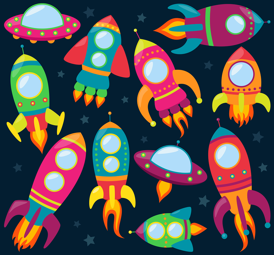 V  ector collection of cartoon rocket ships