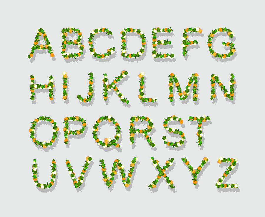 Green leaves font    popaukropa
