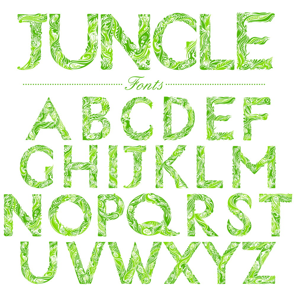 Illustrated fonts in jungle-style swirl    vectomart