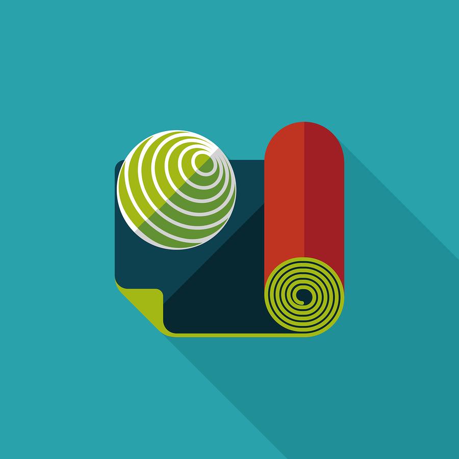 Yoga mat and ball icon |  eatcute