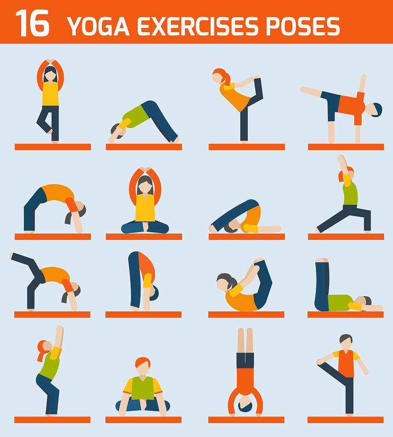 Yoga exercised icons |  Macrovector