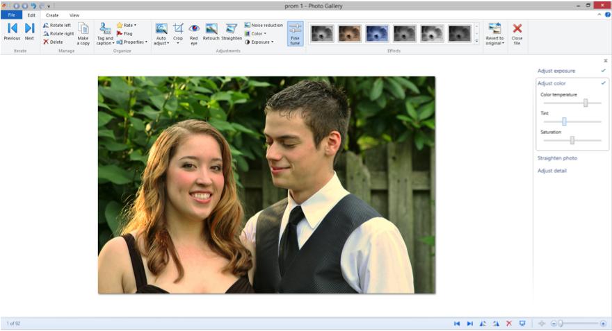 Screenshot of Windows Photo Gallery.