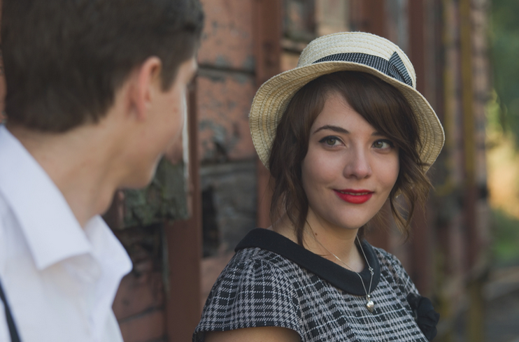 Stock image of woman with hat.