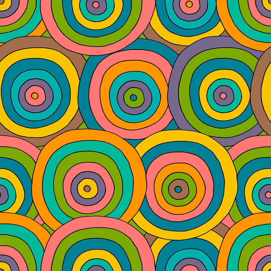 Illustration image of retro circles.