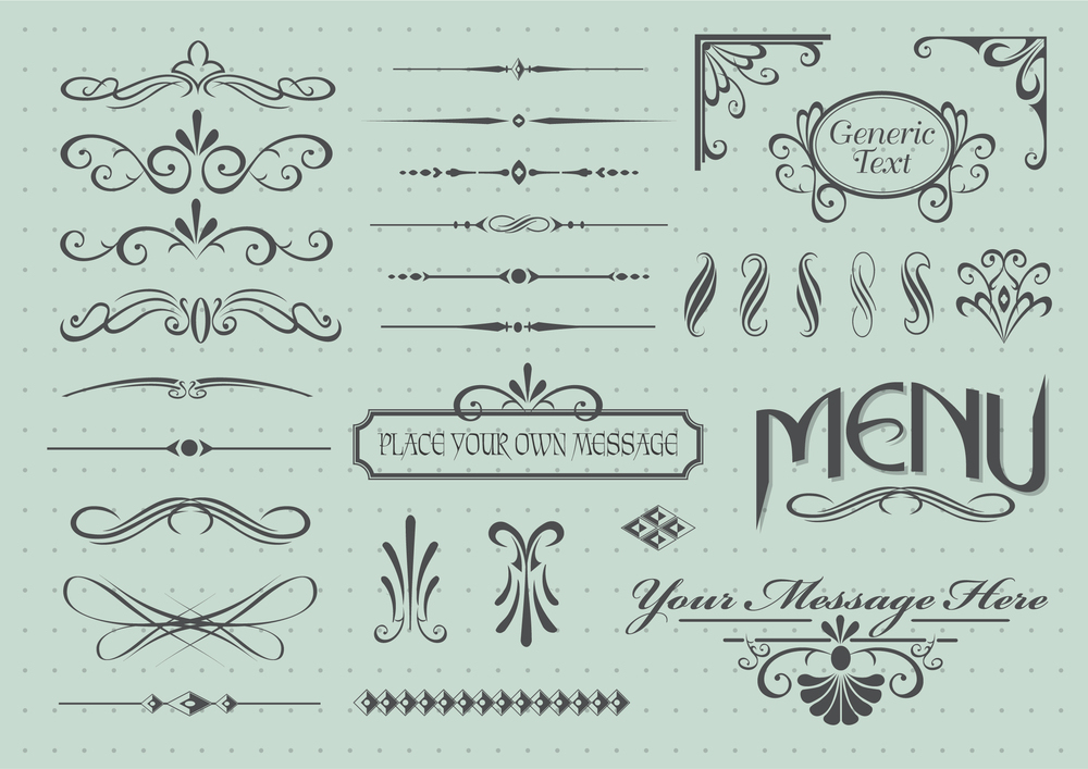 Calligraphic design elements for dining menus |  GraphicStore
