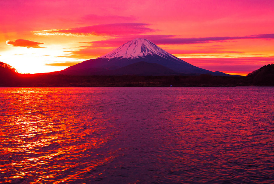 Lake Shojiko at Sunrise