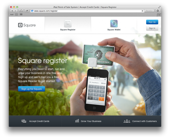 Screenshot of Square homepage