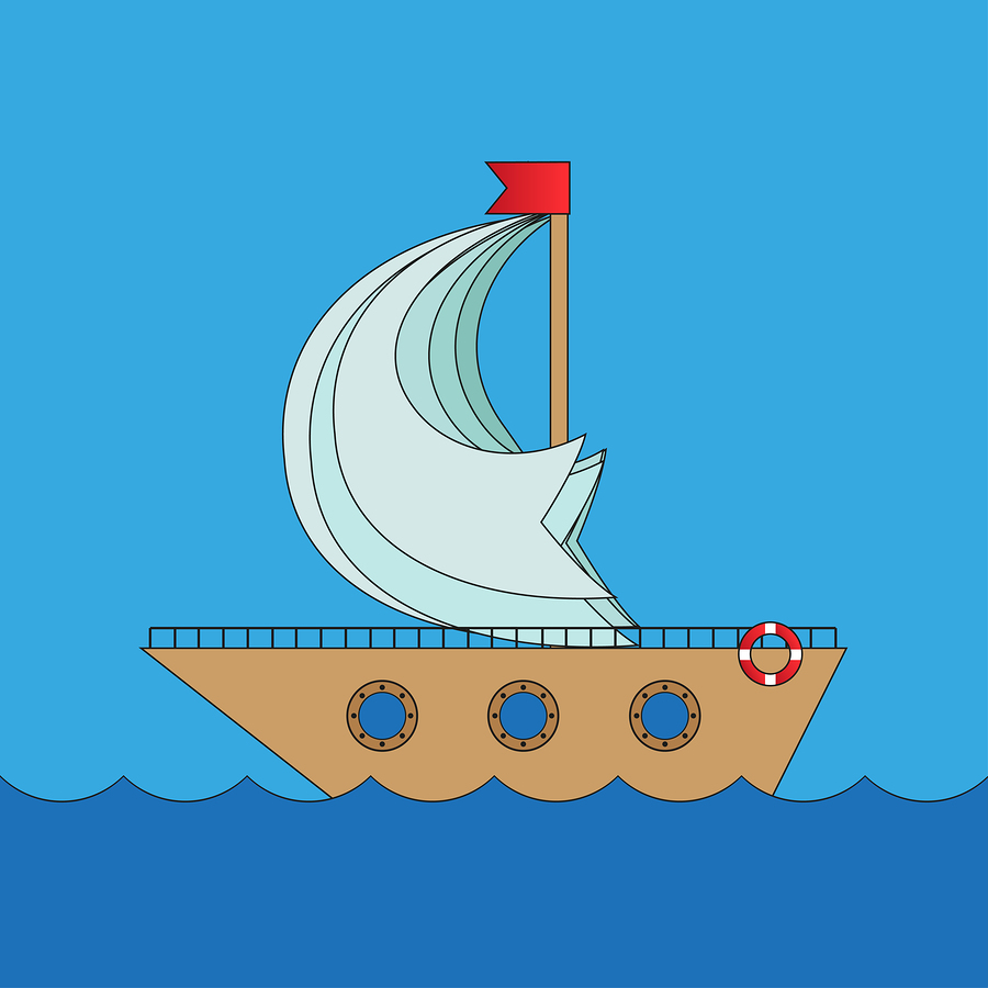 Stock illustration of cartoon sail boat.