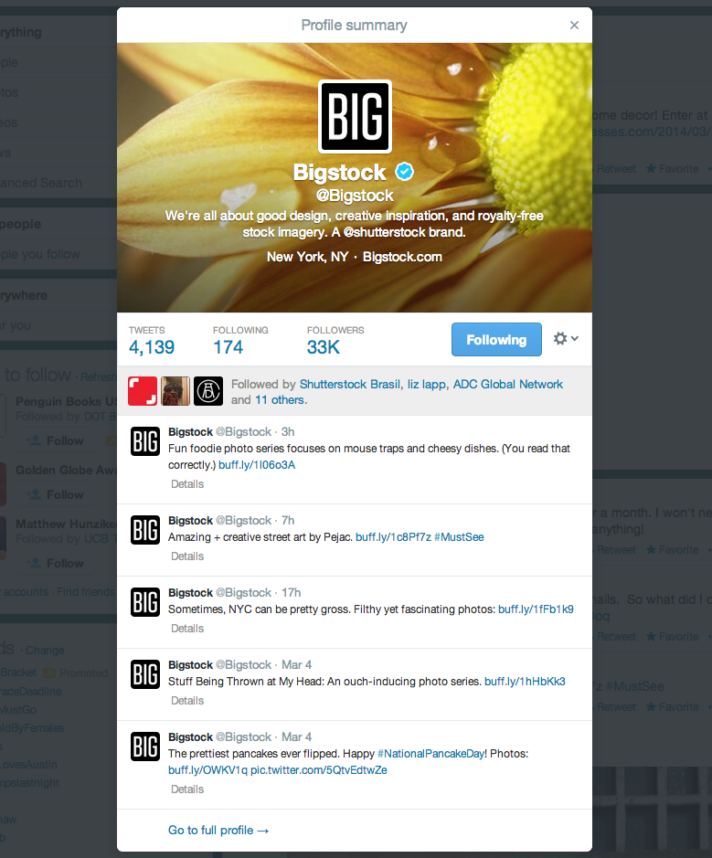 Preview summary of Bigstock's Twitter profile