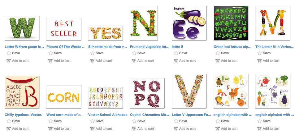 Screenshot image of vegetable fonts lightbox.
