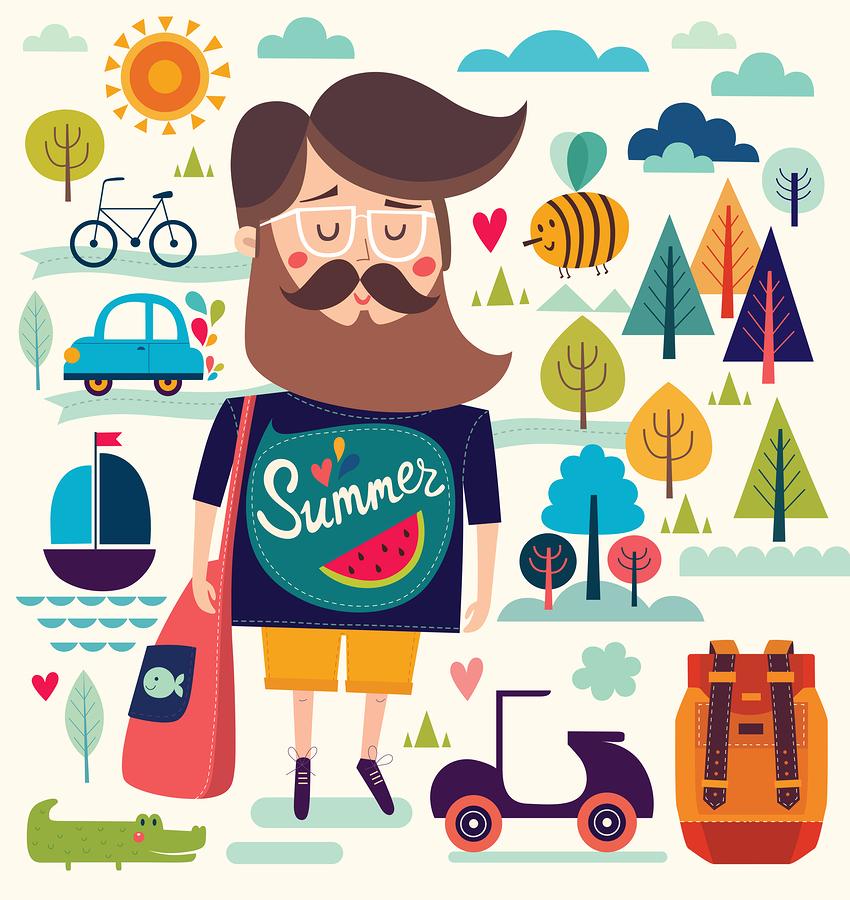 Father with summer symbols illustration by Molesko Studio .