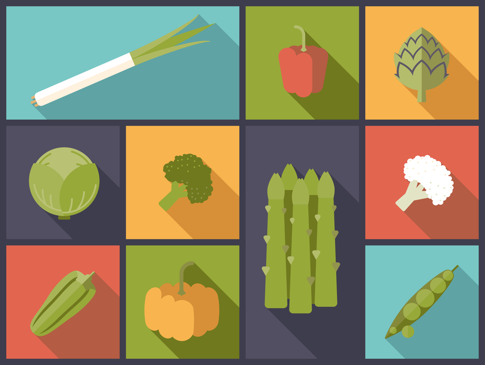 Flat icon illustration of vegetables.