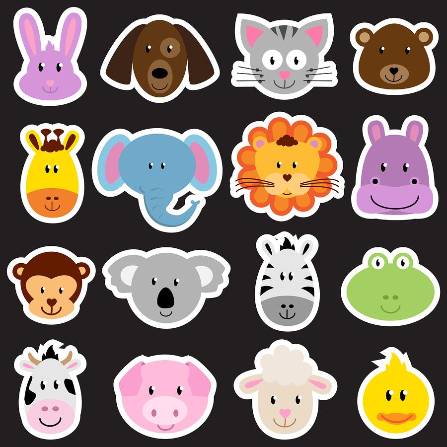 V  ector zoo animal faces set