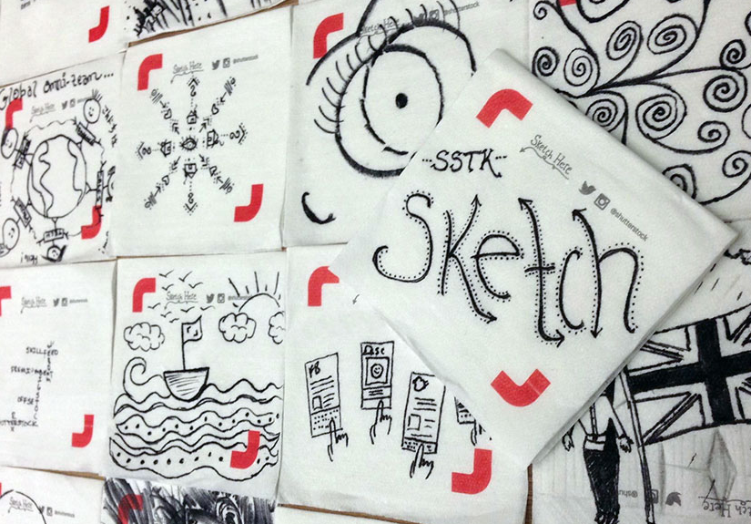 Screenshot of image of sketches on Shutterstock napkins.