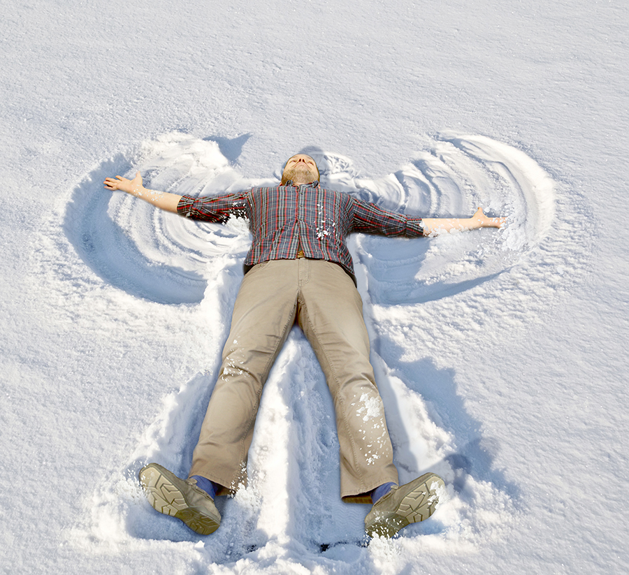 Brian is making the most beautiful snow angel in the entire world.