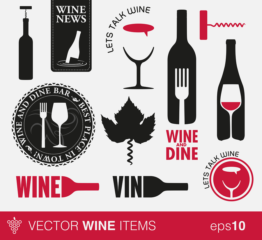 Wine icons and labels |  Twin design