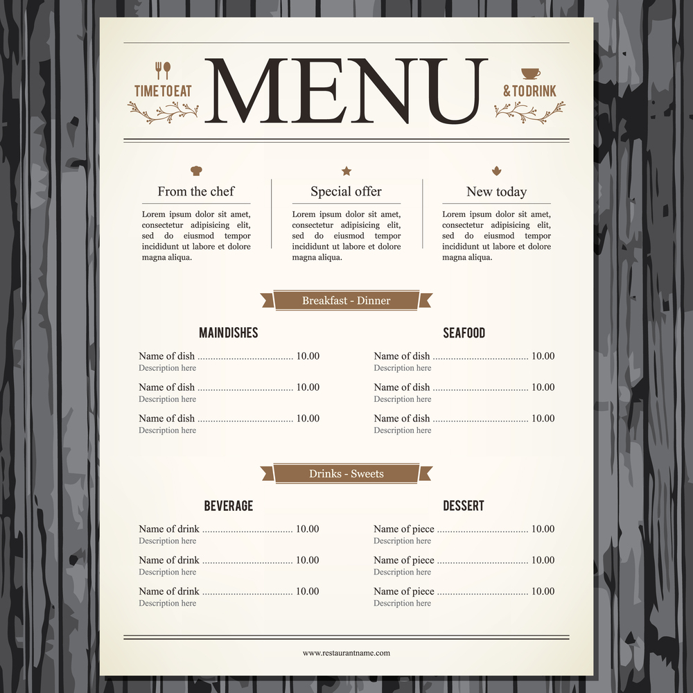 Illustration of restaurant menu design |  L.M.V