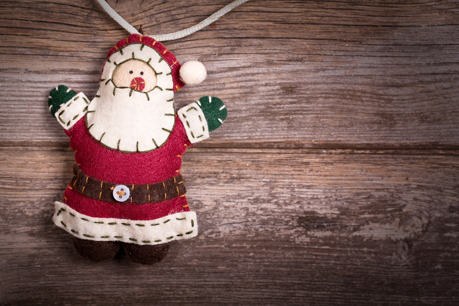 Handmade felt Santa Claus Christmas decoration by Rixie