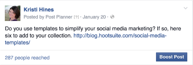 Screenshot image of Facebook post with link.